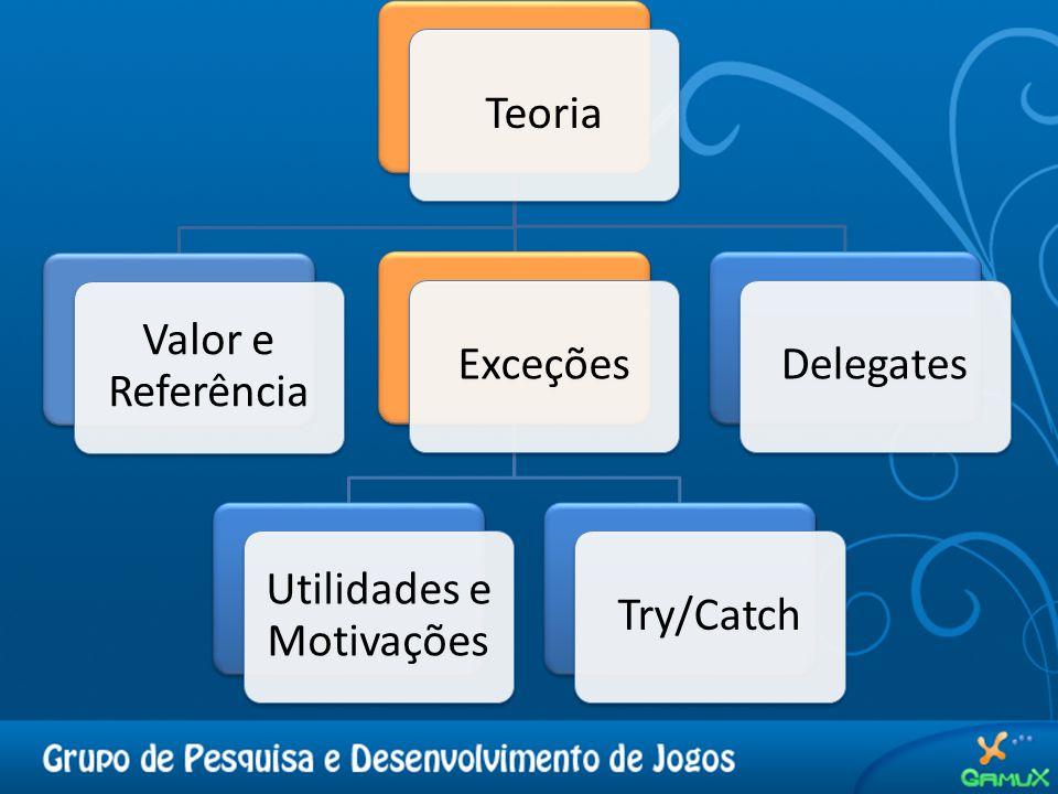 Teoria Valor e Referência Exceções Utilidades e Motivações Try/CatchDelegates