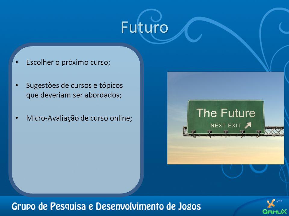 Futuro 21 Escolher o próximo curso; Sugestões de cursos e tópicos que deveriam ser abordados; Micro-Avaliação de curso online;