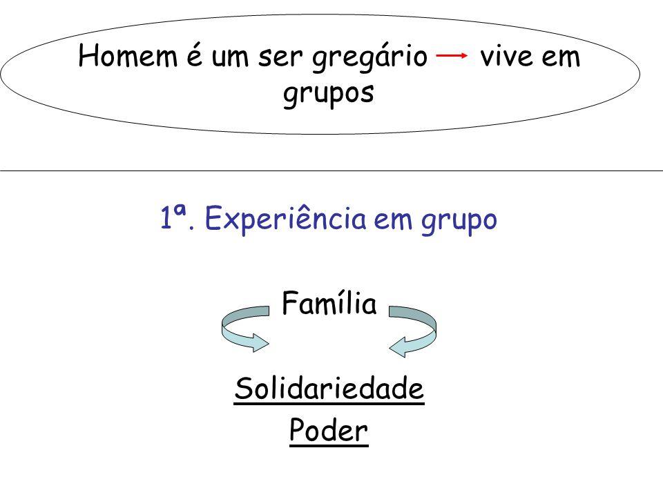 Homem é um ser gregário vive em grupos 1ª. Experiência em grupo Família Solidariedade Poder