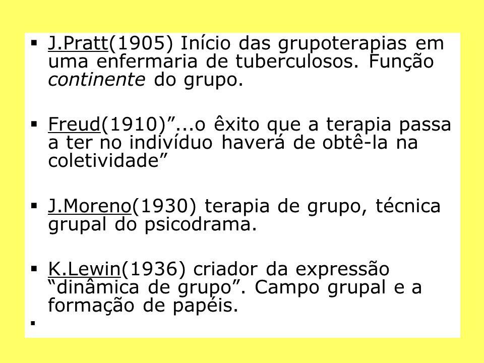 """ J.Pratt(1905) Início das grupoterapias em uma enfermaria de tuberculosos. Função continente do grupo.  Freud(1910)""""...o êxito que a terapia passa a"""