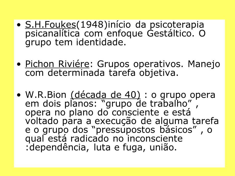 S.H.Foukes(1948)início da psicoterapia psicanalítica com enfoque Gestáltico. O grupo tem identidade. Pichon Riviére: Grupos operativos. Manejo com det