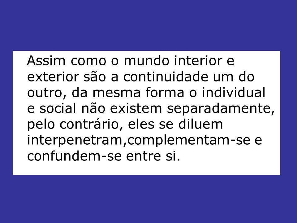 Assim como o mundo interior e exterior são a continuidade um do outro, da mesma forma o individual e social não existem separadamente, pelo contrário,