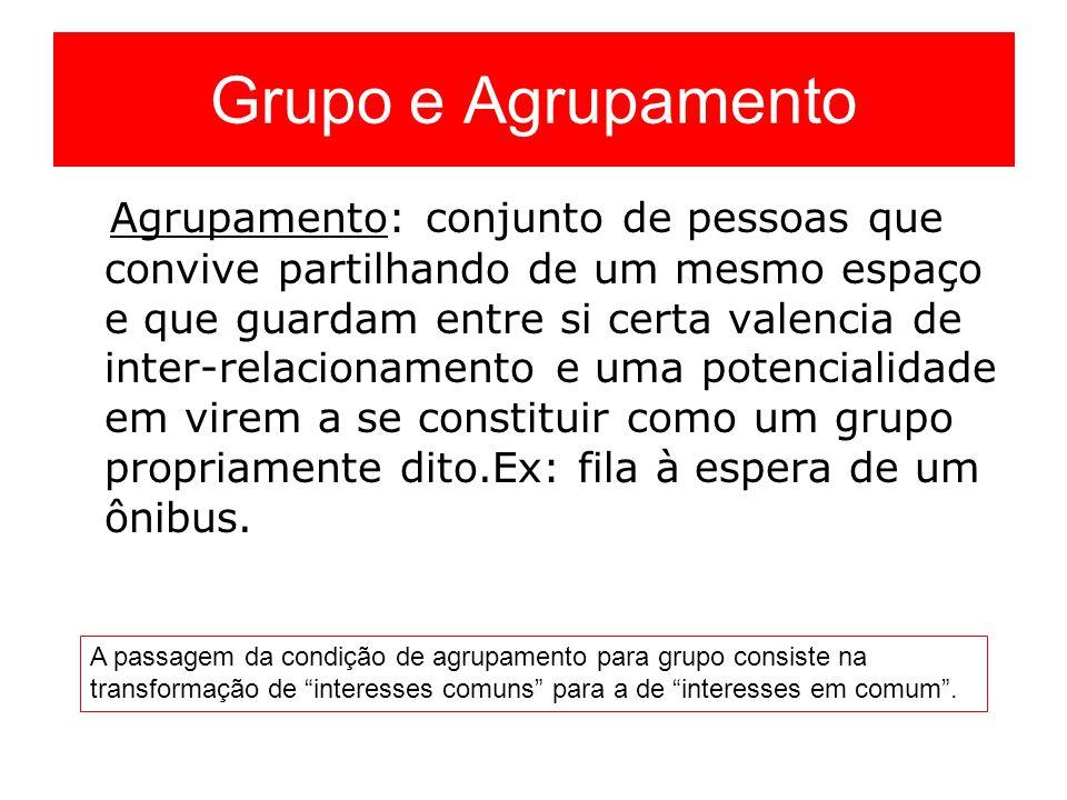 Grupo e Agrupamento Agrupamento: conjunto de pessoas que convive partilhando de um mesmo espaço e que guardam entre si certa valencia de inter-relacio
