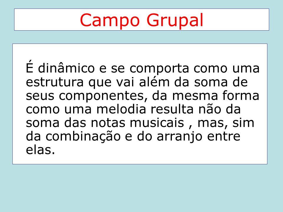 Campo Grupal É dinâmico e se comporta como uma estrutura que vai além da soma de seus componentes, da mesma forma como uma melodia resulta não da soma