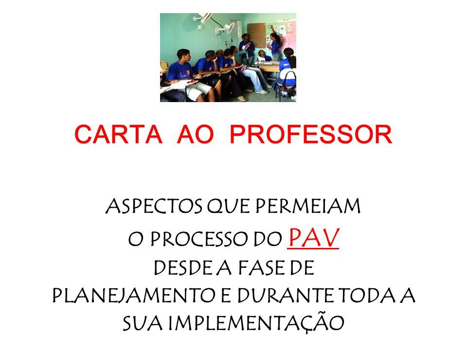 CARTA AO PROFESSOR ASPECTOS QUE PERMEIAM O PROCESSO DO PAV DESDE A FASE DE PLANEJAMENTO E DURANTE TODA A SUA IMPLEMENTAÇÃO