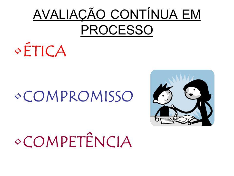 AVALIAÇÃO CONTÍNUA EM PROCESSO ÉTICA COMPROMISSO COMPETÊNCIA