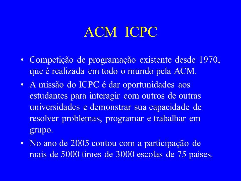 ACM ICPC Competição de programação existente desde 1970, que é realizada em todo o mundo pela ACM. A missão do ICPC é dar oportunidades aos estudantes