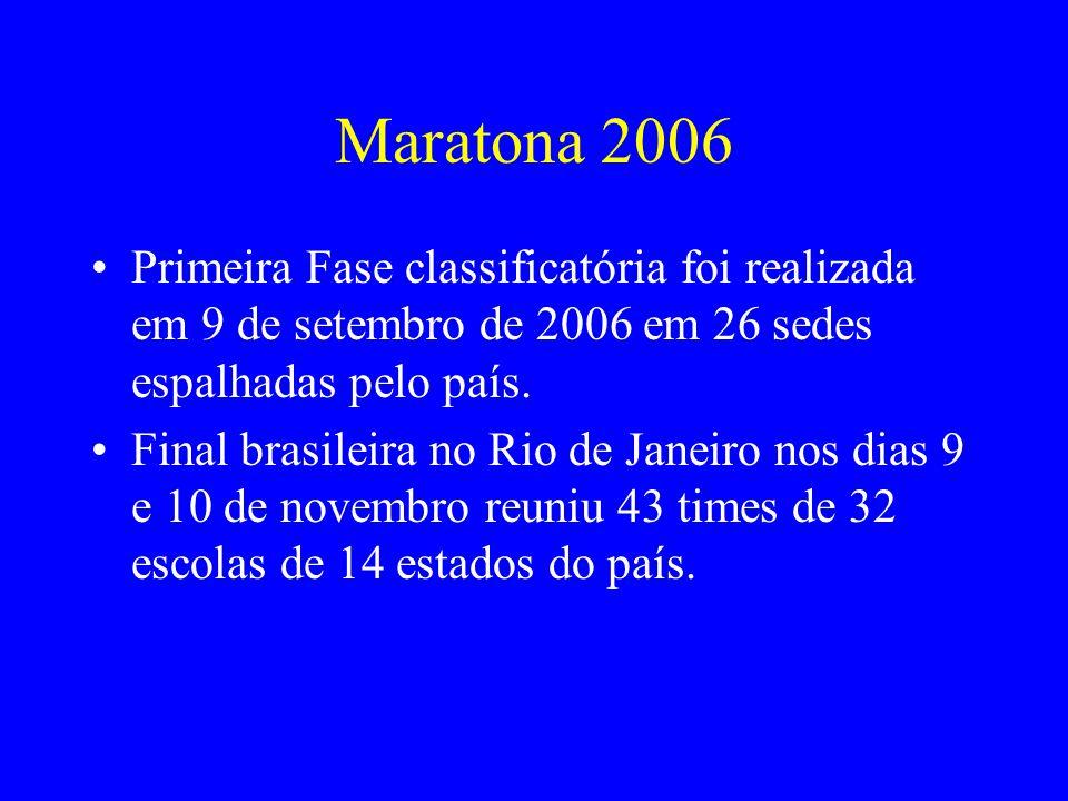 Maratona 2006 Primeira Fase classificatória foi realizada em 9 de setembro de 2006 em 26 sedes espalhadas pelo país. Final brasileira no Rio de Janeir