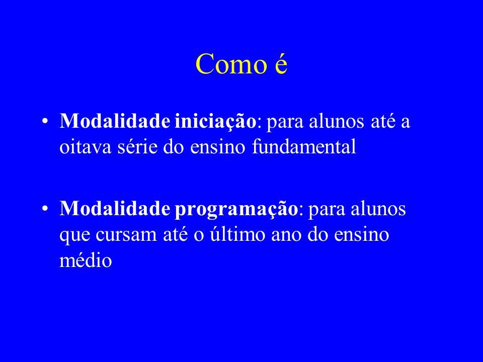 Como é Modalidade iniciação: para alunos até a oitava série do ensino fundamental Modalidade programação: para alunos que cursam até o último ano do e