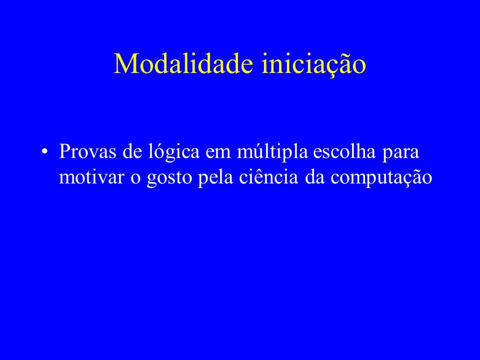 Modalidade programação Problemas de computação que devem ser resolvidos através de programas escritos em alguma linguagem de programação (C, C++ ou Pascal) Os problemas são pontuados de acordo com o número de instâncias dos testes dos juízes são resolvidas corretamente