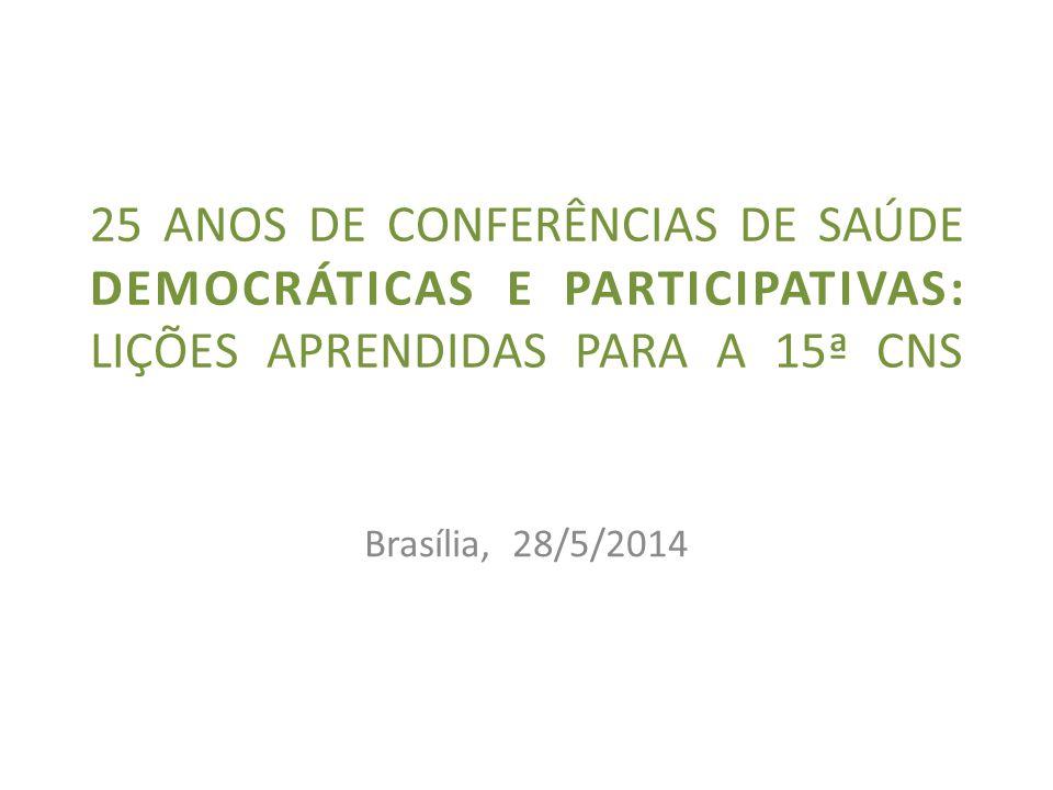 Brasília, 28/5/2014 25 ANOS DE CONFERÊNCIAS DE SAÚDE DEMOCRÁTICAS E PARTICIPATIVAS: LIÇÕES APRENDIDAS PARA A 15ª CNS