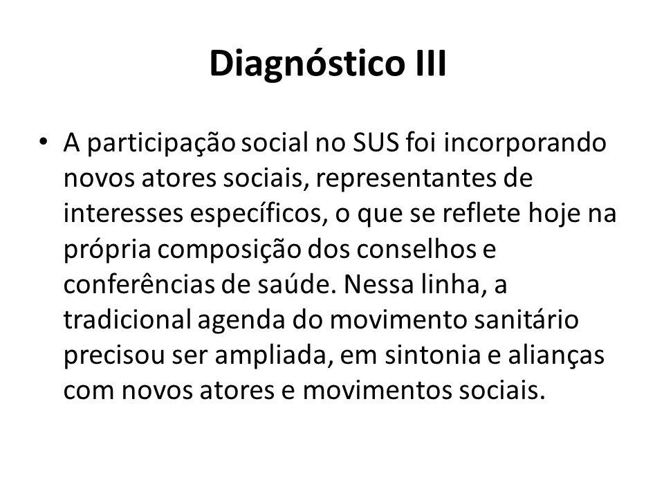 Diagnóstico III A participação social no SUS foi incorporando novos atores sociais, representantes de interesses específicos, o que se reflete hoje na