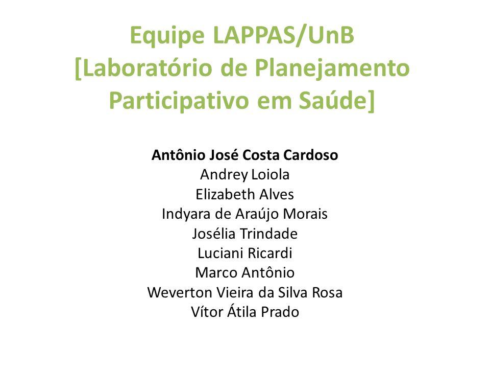 Equipe LAPPAS/UnB [Laboratório de Planejamento Participativo em Saúde] Antônio José Costa Cardoso Andrey Loiola Elizabeth Alves Indyara de Araújo Mora