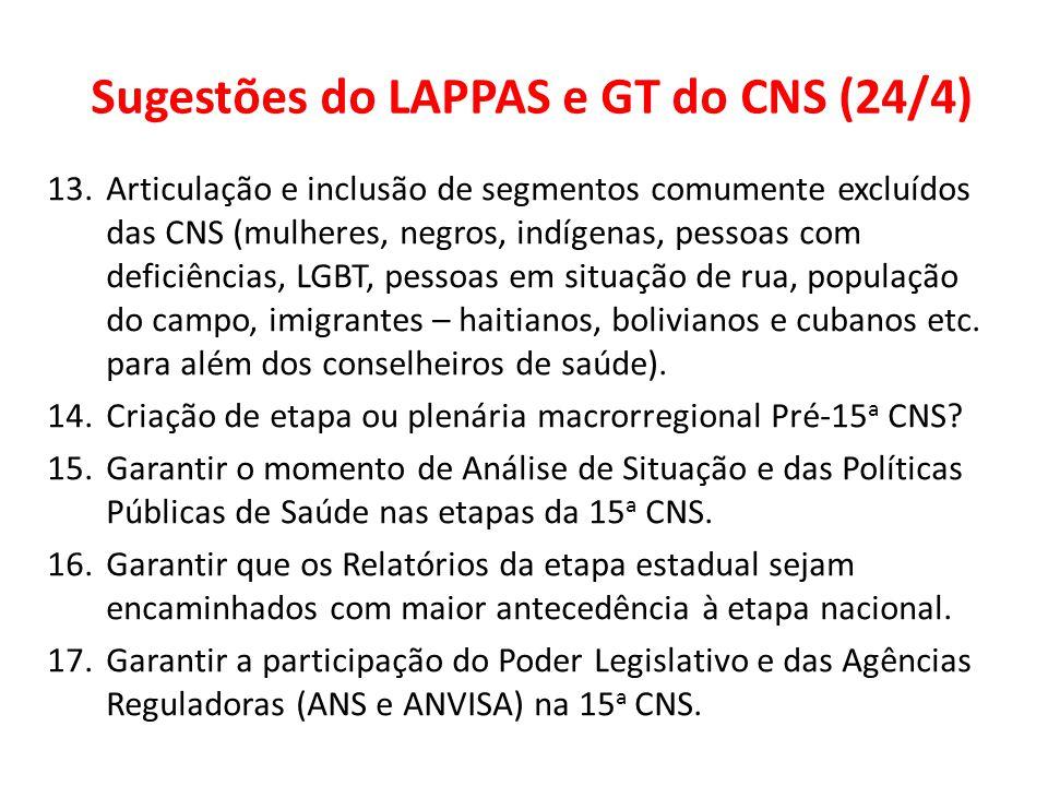 Sugestões do LAPPAS e GT do CNS (24/4) 13.Articulação e inclusão de segmentos comumente excluídos das CNS (mulheres, negros, indígenas, pessoas com de