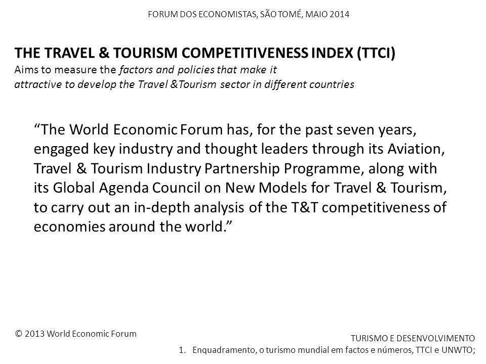 """FORUM DOS ECONOMISTAS, SÃO TOMÉ, MAIO 2014 TURISMO E DESENVOLVIMENTO 1. Enquadramento, o turismo mundial em factos e números, TTCI e UNWTO; """"The World"""