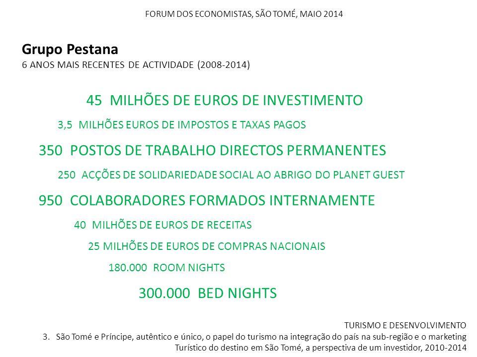 Grupo Pestana 6 ANOS MAIS RECENTES DE ACTIVIDADE (2008-2014) FORUM DOS ECONOMISTAS, SÃO TOMÉ, MAIO 2014 TURISMO E DESENVOLVIMENTO 3. São Tomé e Prínci