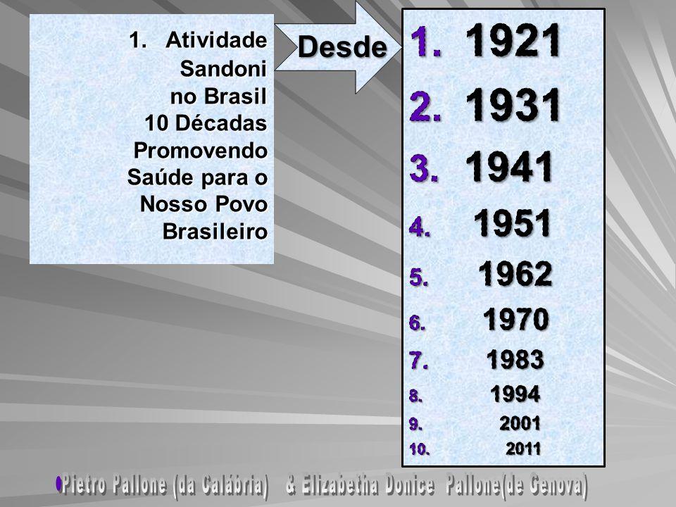 1. Atividade Sandoni no Brasil 10 Décadas Promovendo Saúde para o Nosso Povo Brasileiro 1. Atividade Sandoni no Brasil 10 Décadas Promovendo Saúde par