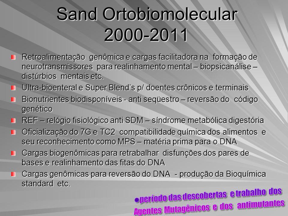 Sand Ortobiomolecular 2000-2011 Retroalimentação genômica e cargas facilitadora na formação de neurotransmissores para realinhamento mental – biopsica