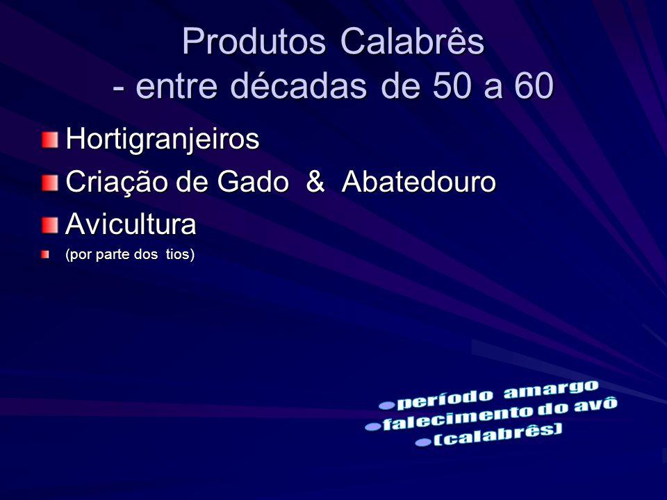 Produtos Calabrês - entre décadas de 50 a 60 Hortigranjeiros Criação de Gado & Abatedouro Avicultura (por parte dos tios)