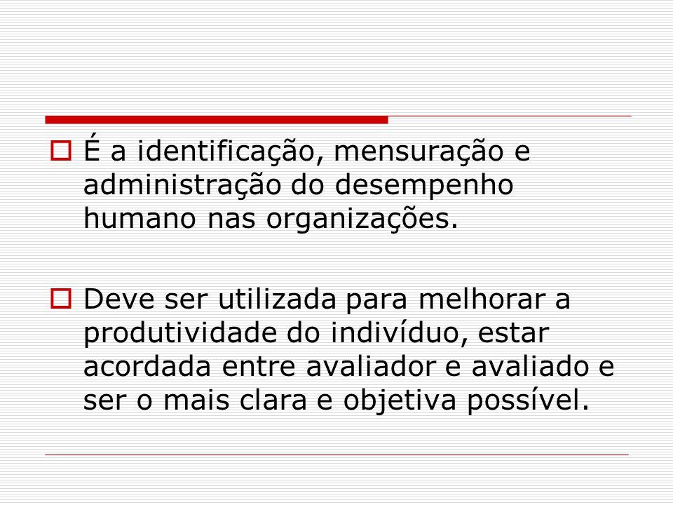  É a identificação, mensuração e administração do desempenho humano nas organizações.  Deve ser utilizada para melhorar a produtividade do indivíduo