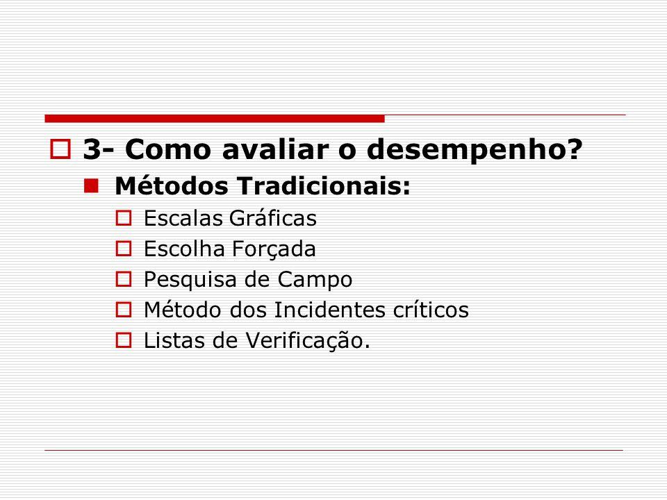  3- Como avaliar o desempenho? Métodos Tradicionais:  Escalas Gráficas  Escolha Forçada  Pesquisa de Campo  Método dos Incidentes críticos  List