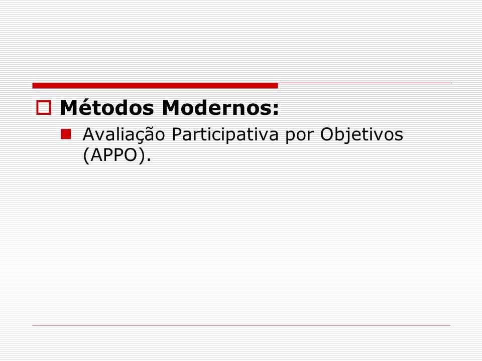  Métodos Modernos: Avaliação Participativa por Objetivos (APPO).