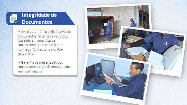 Aviso automático pelo sistema de documentos faltantes e vencidos, baseado em uma lista de documentos para cada tipo de contrato (CLT, autônomo, PJ e e