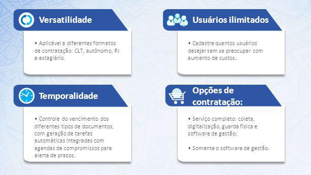 Versatilidade Aplicável a diferentes formatos de contratação: CLT, autônomo, PJ e estagiário. Usuários ilimitados Cadastre quantos usuários desejar se