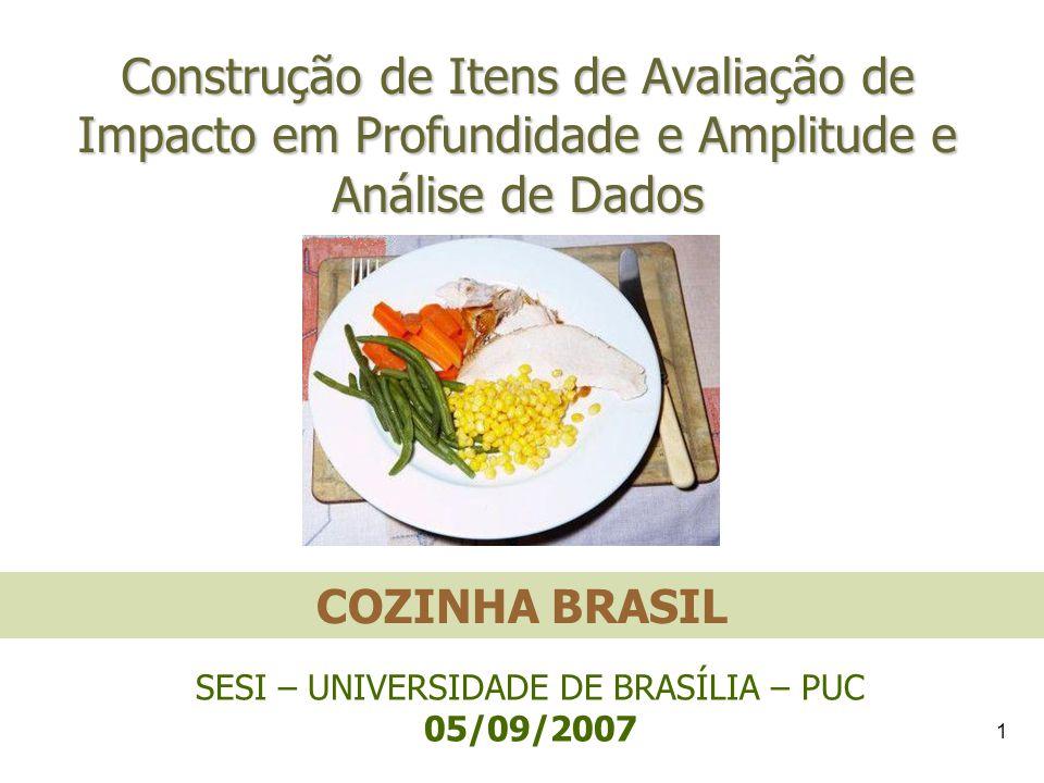1 Construção de Itens de Avaliação de Impacto em Profundidade e Amplitude e Análise de Dados COZINHA BRASIL SESI – UNIVERSIDADE DE BRASÍLIA – PUC 05/0