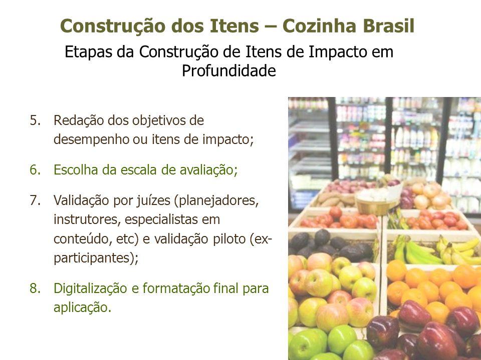 14 Construção dos Itens – Cozinha Brasil Etapas da Construção de Itens de Impacto em Profundidade 5.Redação dos objetivos de desempenho ou itens de im
