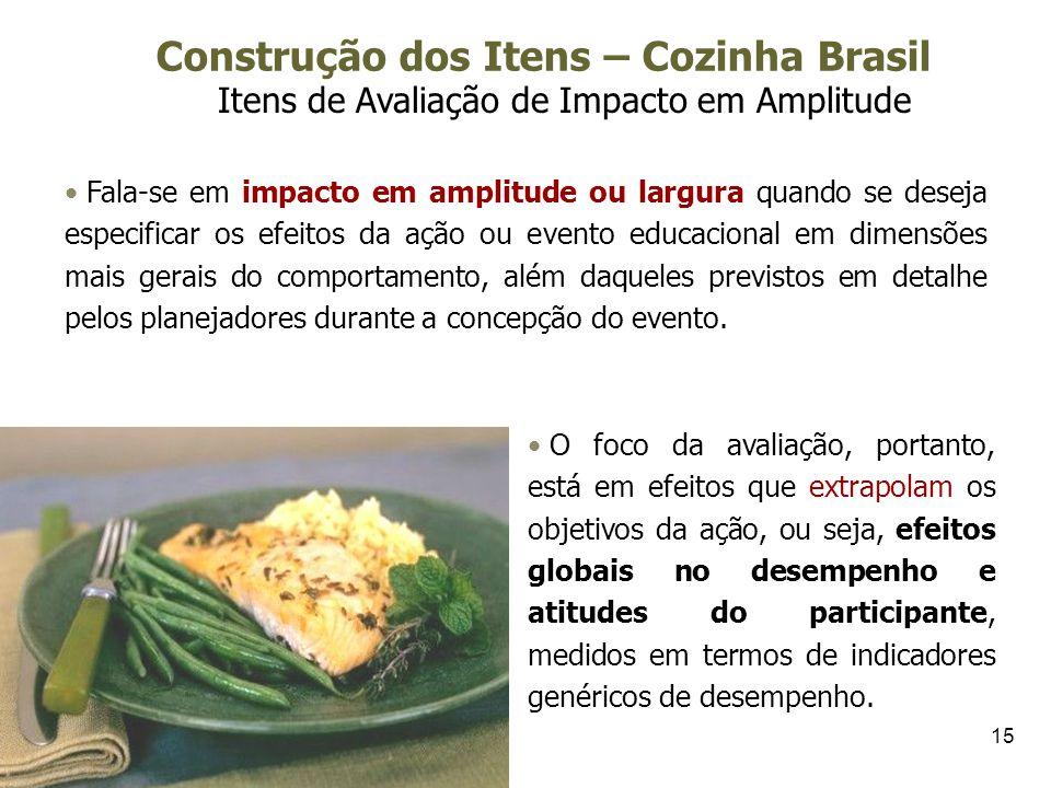 15 Construção dos Itens – Cozinha Brasil Itens de Avaliação de Impacto em Amplitude Fala-se em impacto em amplitude ou largura quando se deseja especi