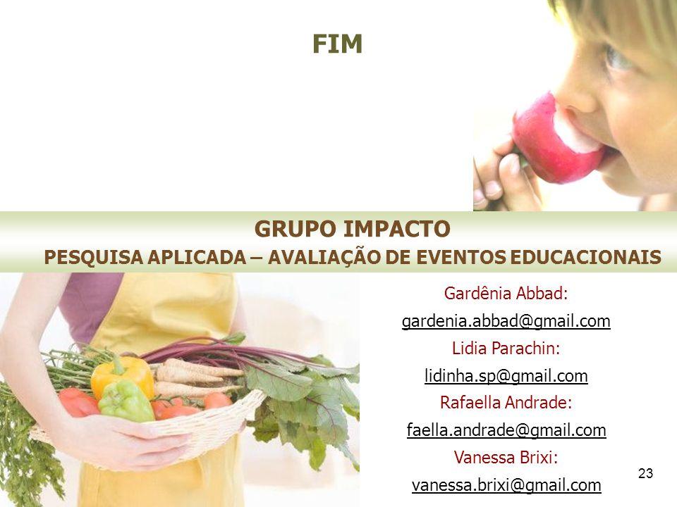 23 GRUPO IMPACTO PESQUISA APLICADA – AVALIAÇÃO DE EVENTOS EDUCACIONAIS Gardênia Abbad: gardenia.abbad@gmail.com Lidia Parachin: lidinha.sp@gmail.com R