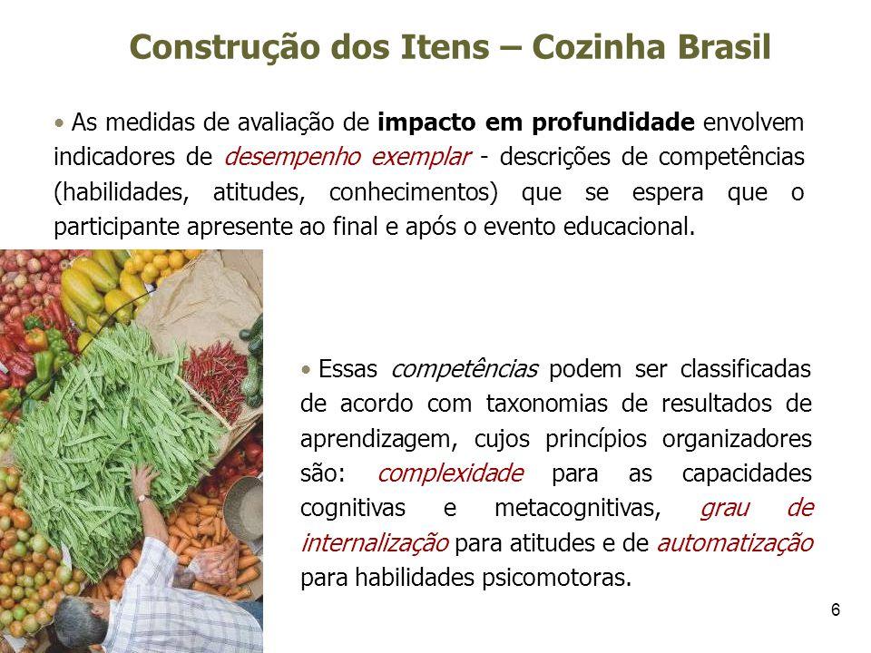 6 Construção dos Itens – Cozinha Brasil As medidas de avaliação de impacto em profundidade envolvem indicadores de desempenho exemplar - descrições de