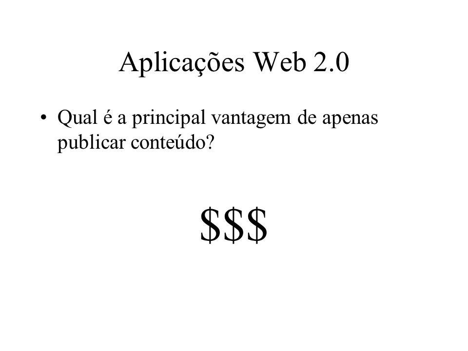 Aplicações Web 2.0 Qual é a principal vantagem de apenas publicar conteúdo $$$