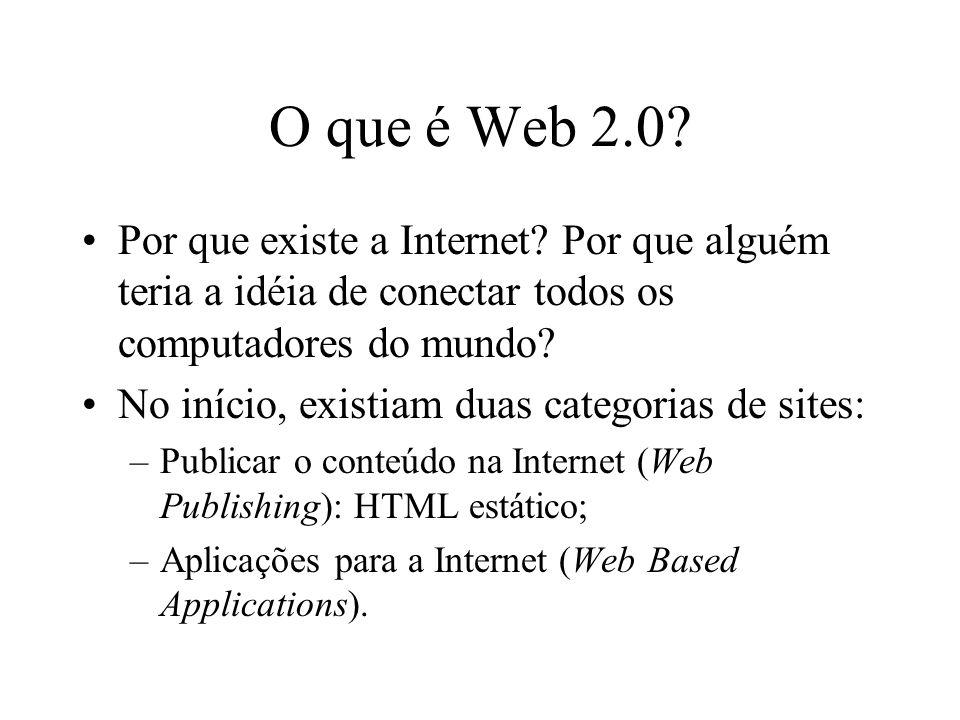 Web Publishing Podem ser chamados de revistas eletrônicas ; Ex.: Catálogo de produtos de uma companhia A tecnologia por trás é apenas um detalhe; Principal pergunta: por que um usuário acessaria o seu site?