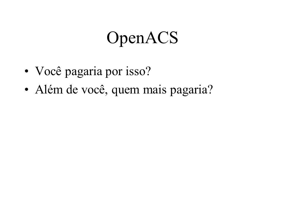 OpenACS Você pagaria por isso Além de você, quem mais pagaria