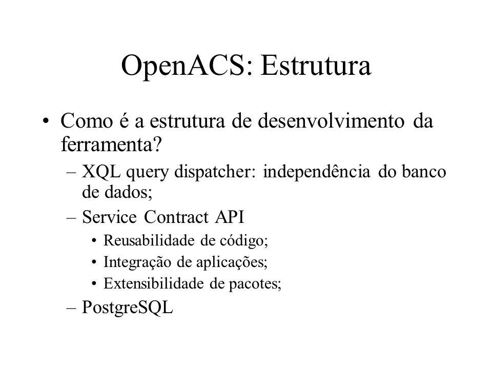 OpenACS: Estrutura Como é a estrutura de desenvolvimento da ferramenta.