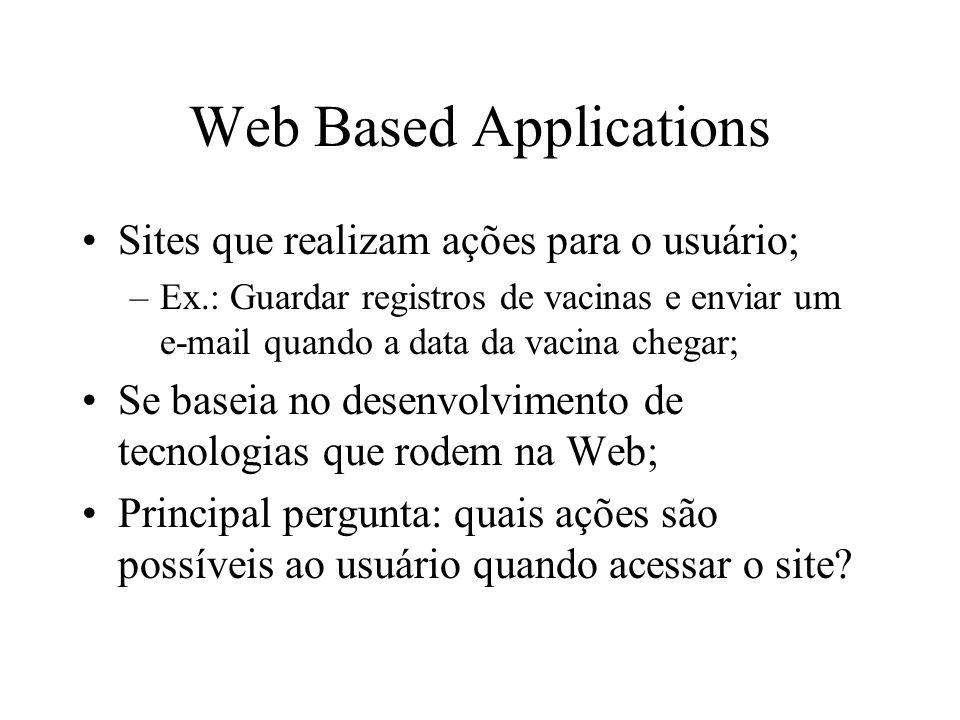 Web Based Applications Sites que realizam ações para o usuário; –Ex.: Guardar registros de vacinas e enviar um e-mail quando a data da vacina chegar; Se baseia no desenvolvimento de tecnologias que rodem na Web; Principal pergunta: quais ações são possíveis ao usuário quando acessar o site