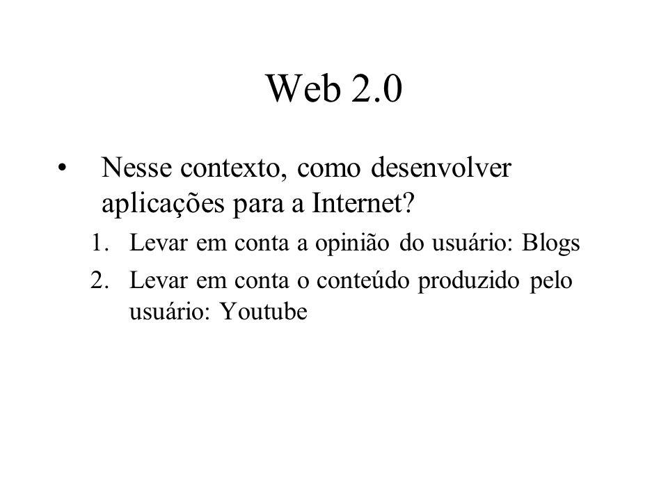 Web 2.0 Nesse contexto, como desenvolver aplicações para a Internet.