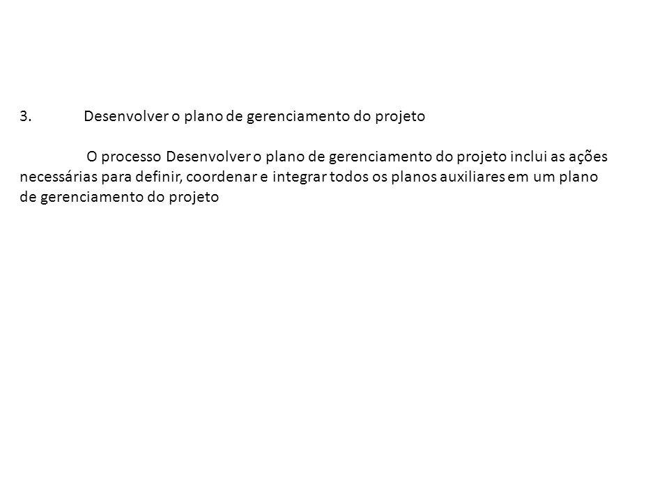 3. Desenvolver o plano de gerenciamento do projeto O processo Desenvolver o plano de gerenciamento do projeto inclui as ações necessárias para definir