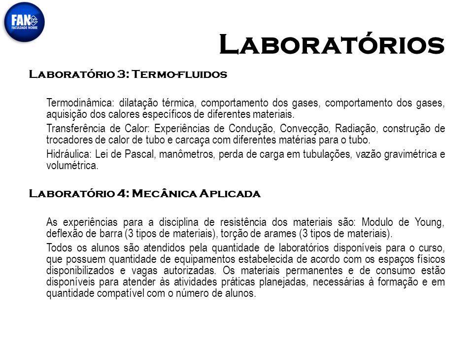 Laboratórios Laboratório 3: Termo-fluidos Termodinâmica: dilatação térmica, comportamento dos gases, comportamento dos gases, aquisição dos calores es