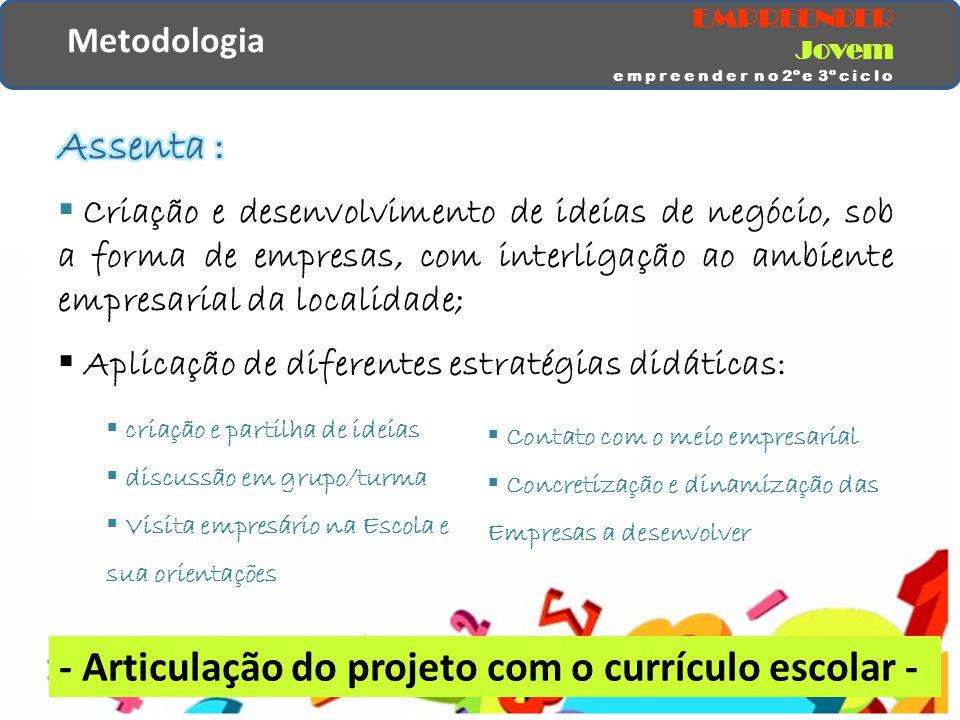 Metodologia  criação e partilha de ideias  discussão em grupo/turma  Visita empresário na Escola e sua orientações  Contato com o meio empresarial