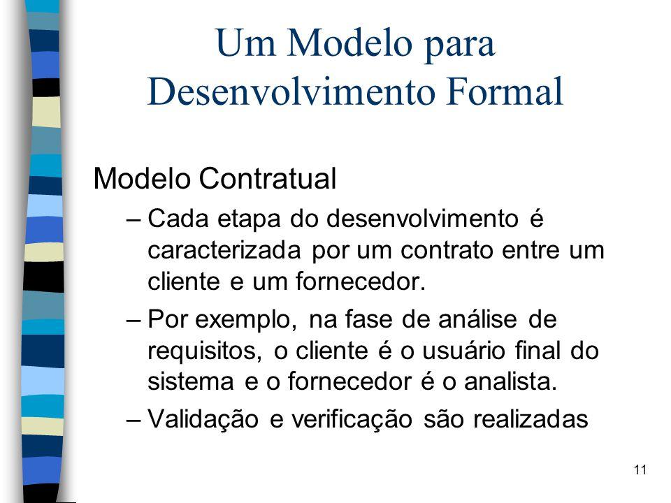 11 Um Modelo para Desenvolvimento Formal Modelo Contratual –Cada etapa do desenvolvimento é caracterizada por um contrato entre um cliente e um fornec