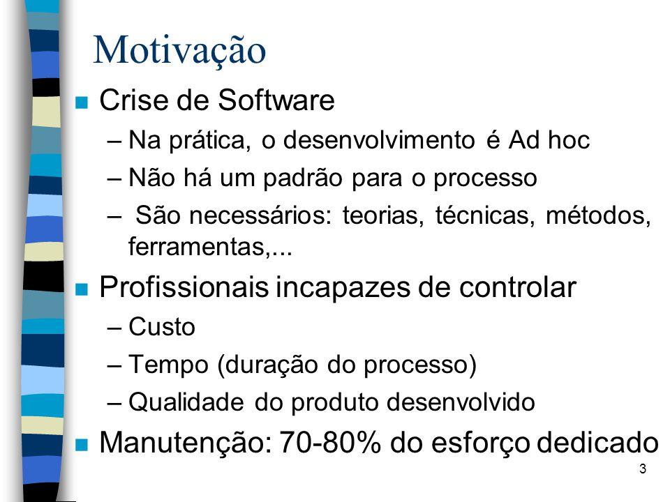 3 Motivação n Crise de Software –Na prática, o desenvolvimento é Ad hoc –Não há um padrão para o processo – São necessários: teorias, técnicas, método