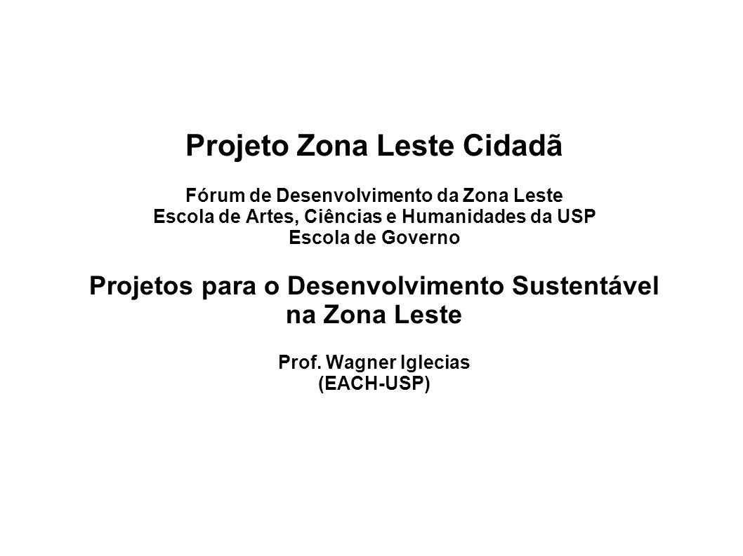 Projeto Zona Leste Cidadã Fórum de Desenvolvimento da Zona Leste Escola de Artes, Ciências e Humanidades da USP Escola de Governo Projetos para o Dese