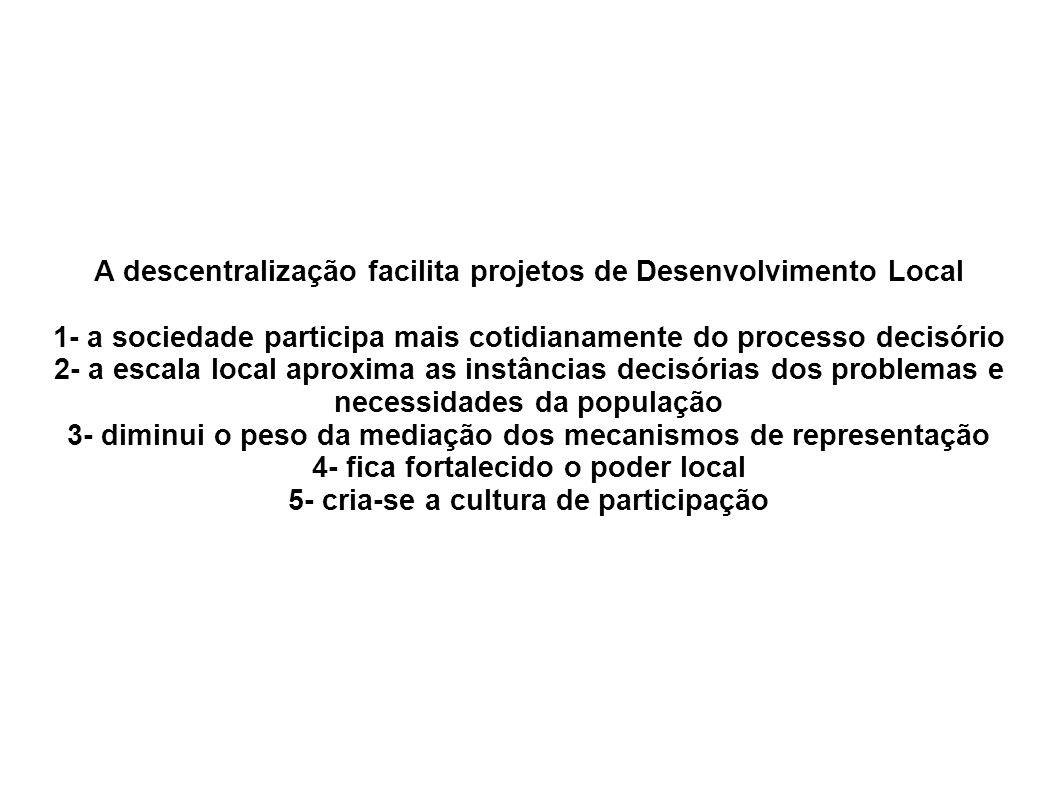 A descentralização facilita projetos de Desenvolvimento Local 1- a sociedade participa mais cotidianamente do processo decisório 2- a escala local apr