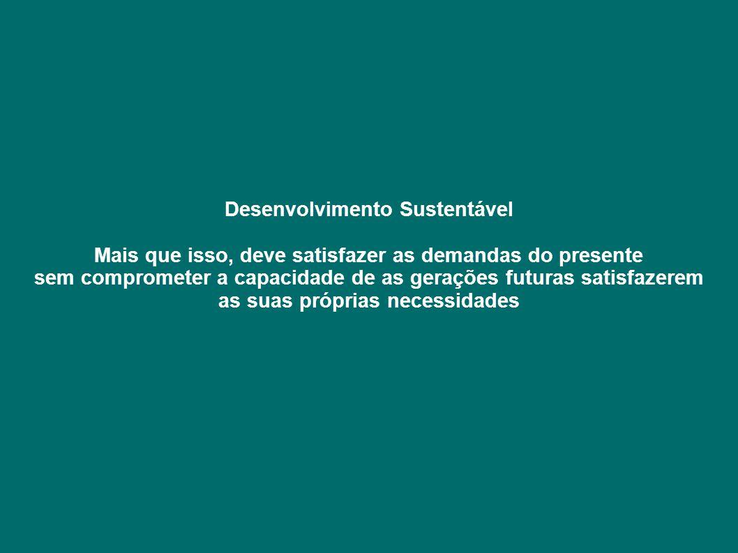 Desenvolvimento Sustentável Mais que isso, deve satisfazer as demandas do presente sem comprometer a capacidade de as gerações futuras satisfazerem as