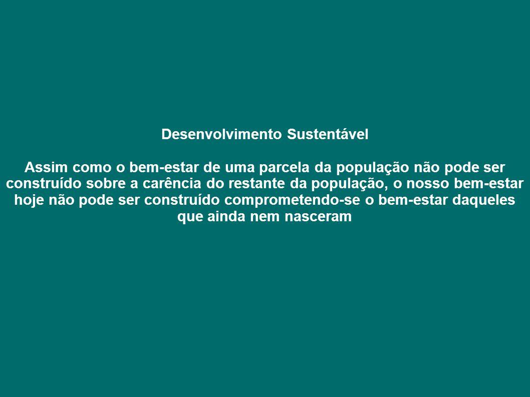 Desenvolvimento Sustentável Assim como o bem-estar de uma parcela da população não pode ser construído sobre a carência do restante da população, o no
