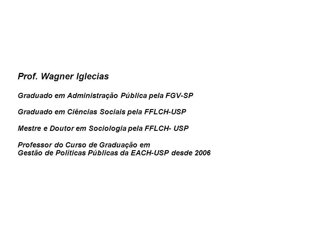 Prof. Wagner Iglecias Graduado em Administração Pública pela FGV-SP Graduado em Ciências Sociais pela FFLCH-USP Mestre e Doutor em Sociologia pela FFL