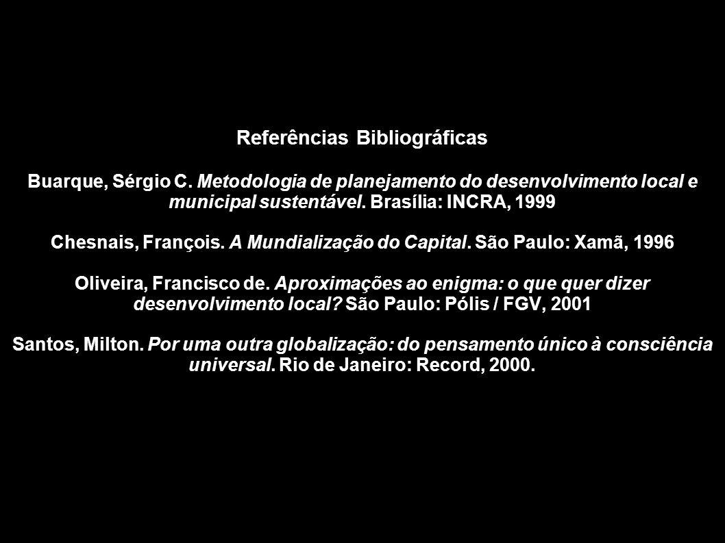 Referências Bibliográficas Buarque, Sérgio C. Metodologia de planejamento do desenvolvimento local e municipal sustentável. Brasília: INCRA, 1999 Ches